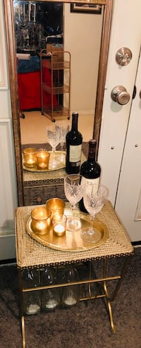 Gold Tray Serving Set & Tall Mirror