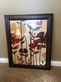 "White and red poppy flowers picture with brown wooden frame 27""x33"""