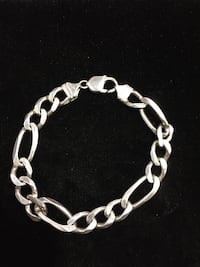 Silver-colored figaro chain bracelet32g