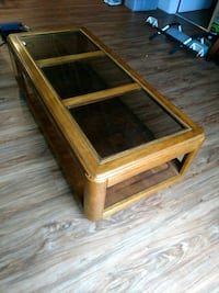 rectangular brown wooden framed glass top coffee table Omaha, 68102