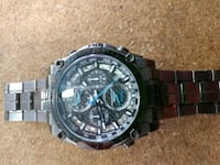 round black chronograph watch with link bracelet Clay, 13041