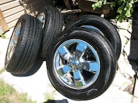 chrome 5-spoke car wheel with tire set Brampton, L6V 2A4