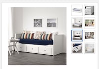 white wooden bed frame with storage Mississauga, L4Z