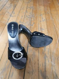 black-and-gray leather open toe sandals Montréal, H2M 1B2