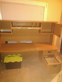 brown wooden computer desk with hutch Wooster, 44691