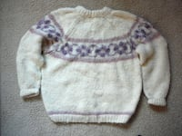baby's white and purple sweater EUGENE