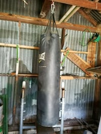 Punching bag and weight bench with 10, 25lb  weights.