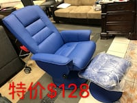 blue leather tufted sofa chair