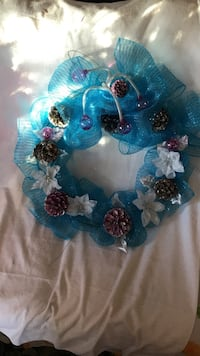 blue and white floral mesh wreath