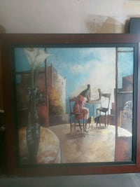 brown wooden framed painting of house 2242 mi