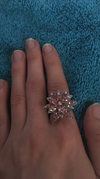 silver and pink gemstone ring Central Okanagan