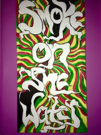 Multicolored abstract painting with text overlay Jamestown, 02835