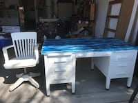 White and blue wooden desk and chair Carlsbad, 92010