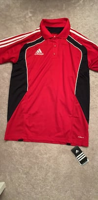 Red and black adidas polo Surrey, V3R