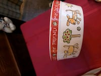 white and red ceramic dog bowl Springfield, 22151