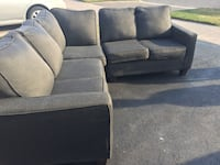 two gray suede sofa chairs Ajax, L1S
