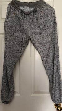 gray and black floral pants