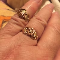 Gold-colored flower rings