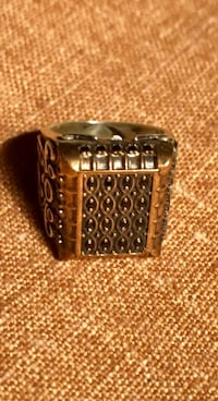 Men Unisex Black Onyx Intaglio Antique Style Square Ring Size 8.5