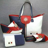 white-and-blue Tommy Hilfiger leather tote bag and wedge sandals set
