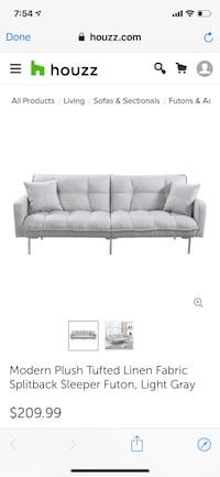 Tufted gray plush futon with throw pillow Washington, 20006
