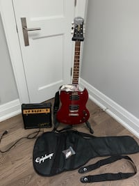 Epiphone Les Paul P90 electric cherry guitar w/amp,bag,2 straps &stand