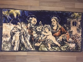 Joseph Mary and Jesus rug/wall hanging.