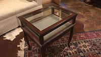 Mahogany and  glass display table.  18 x 22 x 24 high.    Excellent from estate Falls Church, 22044