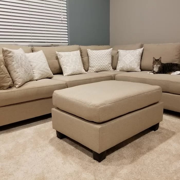 new linen sectional sofa with ottoman