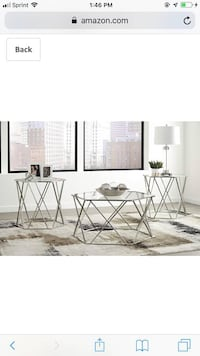 Brand new 3pc chrome and glass table set Lawrence, 01841