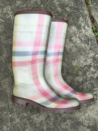 pair of pink-and-white plaid rain boots Dumfries