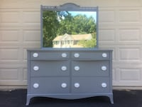Huntley Furniture Solid Wood Long Dresser With Mirror Gray With White Handles  Manassas, 20112