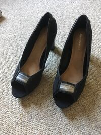 pair of black leather peep-toe heeled shoes Barrie, L4M 6P7