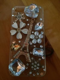 Clear base floral, effiel tower and rhinestone iPhone case