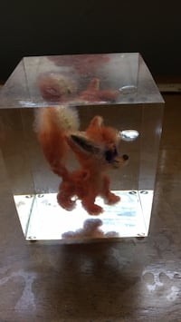 Paperweight- approx 1/2 lb- stuffed animal in solid clear lucite- 3 1/4 sq. Approx 4 3/8 high price $14.00 West Hempstead, 11552