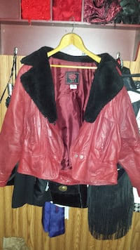 Red leather coat NATICK