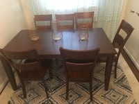 Rectangular brown wooden table with six chairs dining sets Toronto, M6N 4T2