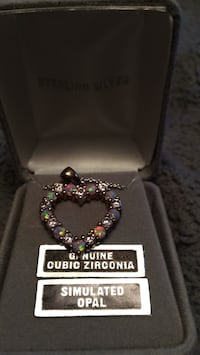 Genuine cubic zirconia.   Simulated opal silver necklace. Perfect Xmas present  Sinclairville, 14782