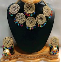 gold and blue gemstone studded earrings Ahmedabad, 382210