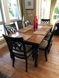 rectangular brown wooden table with six chairs dining set Mountain View, 94041