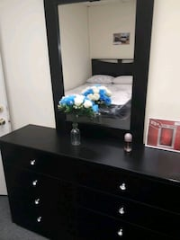 black wooden dresser with mirror 2269 mi