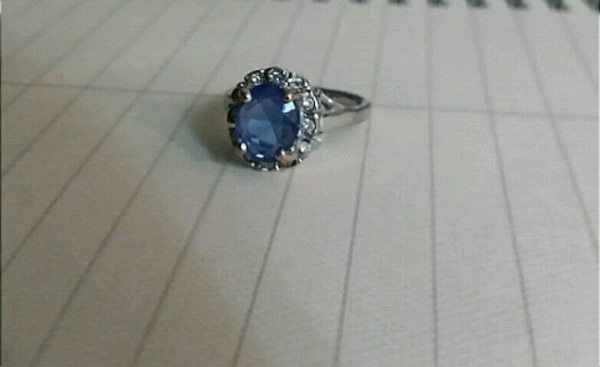 Silver Ring with Blue Sapphire Stone