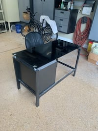 Black metal and glass desk with office chair Elma, 14059