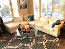 White leather Sectional couch/sofa+ Ottoman! moving must sell!!