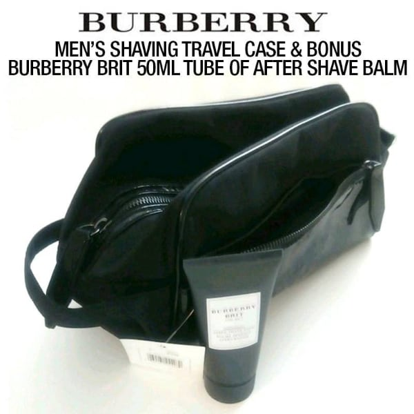 NEW mens shaving travel case with bonus brit 50ml tube of after shave