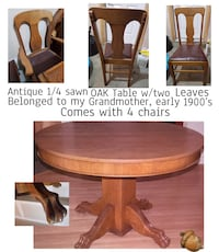 Antique Oak Table Early 1900's, 4 chairs Calgary, T2L 0T3