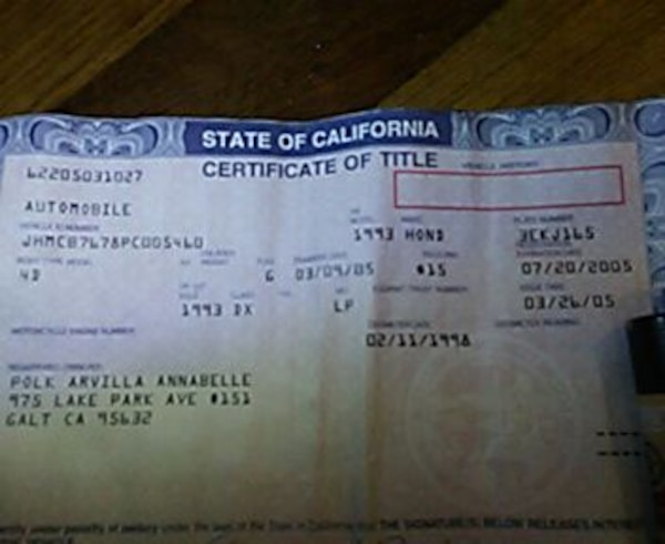 Used state of california certificate of title document for sale in ...