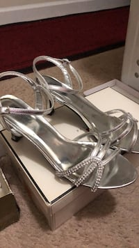 Pair of silver open toe ankle strap heels Silver Spring, 20906