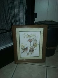three birds poster with brown wooden frame Houma, 70363