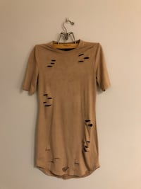 Brown suede bodycon dress